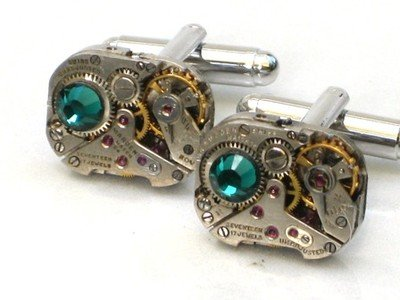 Steampunk WATCH MOVEMENTS CUFFLINKS Emerald Green Crystal vintage (Emerald Mens Watch)