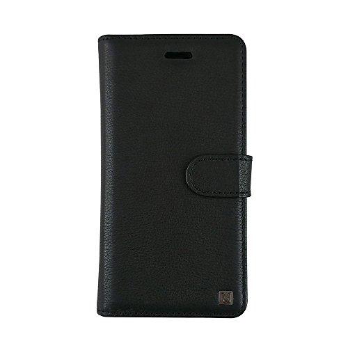 iPhone X Case, Uunique, Black, Genuine Leather Case, [3 ID / Card Slot] Handcrafted, Premium Folio, Stand Function, Premium Genuine Leather Book Case