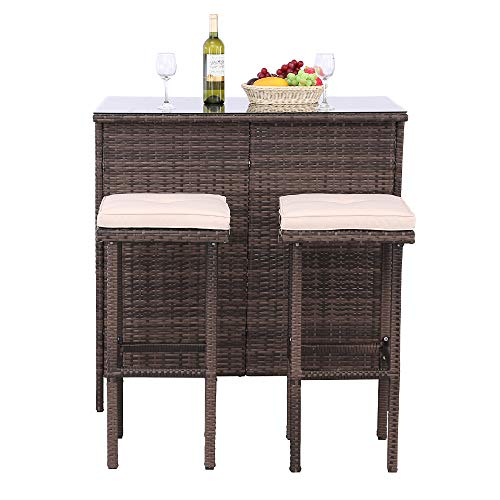 Polar Aurora 3PCS Outdoor Wicker Bar Set with Stools and Glass Top Table Patio Bar Furniture with Removable Cushions ()