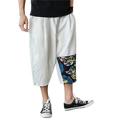 BingYELH Mens Summer Casual Lounge Baggy Patchwork Linen Shorts Harem Capri Pants Beach Trousers Jacket Summer Pants White