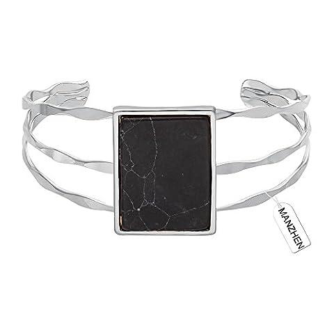 MANZHEN 3 Colors Geometric Retangle Black Onyx Marbled Wide Bangle Open Cuff Natural Stone Bangle Bracelets - Onyx Stone Bangles