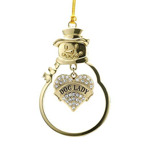 - Inspired Silver - Dog Lady Charm Ornament - Gold Pave Heart Charm Snowman Ornament with Cubic Zirconia Jewelry