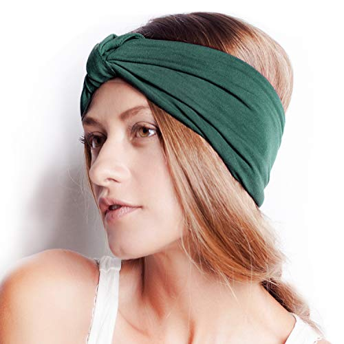 BLOM Original Multi Style Headband. for Women Yoga Fashion Workout Running Athletic Travel. Wear Wide Turban Thick Knotted + More. Comfort Style & Versatility. (Spruced Up Green)