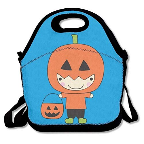 LINGDANMIAO Happy Halloween Cute Funny Pumpkin Emoji Lunch Bags Insulated Handbag Lunchbox Tote Cooler Warm Pouch With Shoulder Strap For Women Teens Girls Kids Adults -