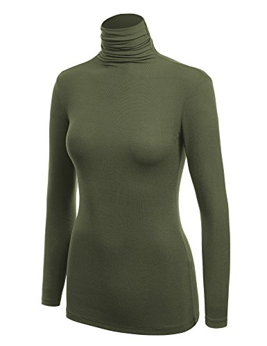 Made By Johnny WSK1030 Womens Long Sleeve Ribbed Turtleneck Pullover Sweater L Olive
