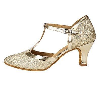 dquietness @ Damen Dance Schuhe Sparkling Glitter Salsa Sandalen Heels Ferse Performance Gold