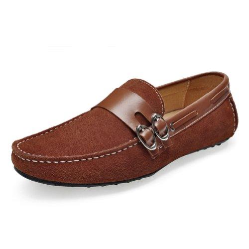 Happyshop (tm) Nya Man Dagdrivare För Läder Skor Tillfällig Suede Komfort Slip-on Kör Skor Eur Storlek 39-44 Ljusbrun