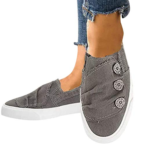 (Women Loafers Vintage Out Shoes Round Toe Platform Flat Heel Buckle Strap Casual Walking Shoes Gray)