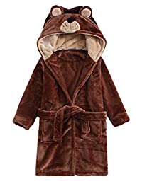 ABClothing Boys Girls Hooded Thicken Bathrobe Kids Bunny & Bear Pyjamas (Size 2 Toddler -14Y)