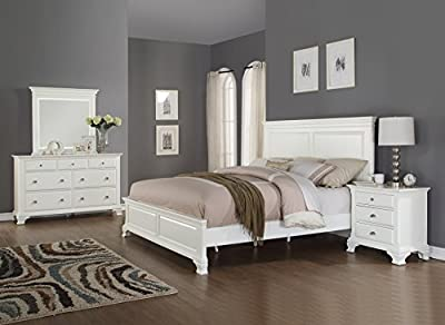 Roundhill Furniture Laveno 012 White Wood Bedroom Furniture Set, Includes King Bed, Dresser, Mirror and Night Stand-P