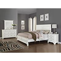 Roundhill Furniture Laveno 012 White Wood Bedroom Furniture Set, Includes King Bed, Dresser, Mirror and Night Stand