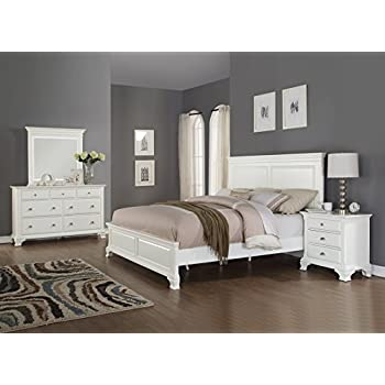 Amazon.com: Roundhill Furniture Laveno 012 White Wood Bedroom ...