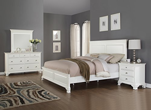 Roundhill Furniture Laveno 012 White Wood Bedroom Furniture Set, Includes Queen Bed, Dresser, Mirror and Night Stand (Footboard Set Nightstand)