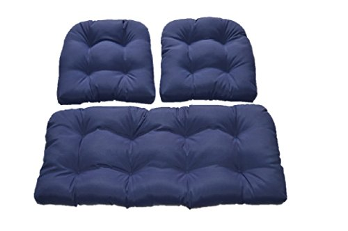 Navy / Dark Blue Solid Fabric Cushions for Wicker Loveseat Settee & 2 Matching Chair Cushions (Cushion Sets Patio Loveseat)