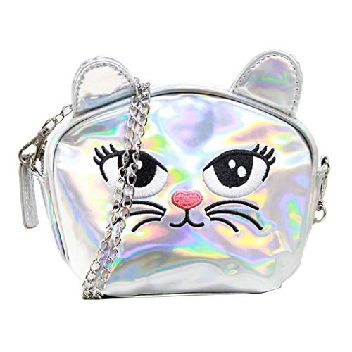 American Jewel Small Kitty Purse - Cat Face Iridescent Shoulder Bag with Removable Chain Strap - Black -