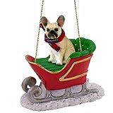 French Bulldog Sleigh Ride Christmas Ornament Fawn - DELIGHTFUL!