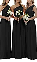 Holygift Women's V Neck Chiffon Long Lace Beach Prom Bridesmaid Dresses Wedding Guest Dresses