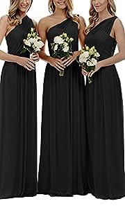 Holygift Women's V Neck Chiffon Long Lace Beach Prom Bridesmaid Dresses Wedding Guest Dresses