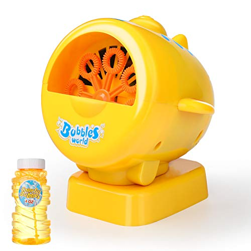 WisToyz Bubble Machine 2019 Upgraded Bubble Blower Automatic Bubble Machine for Kids Boys Girls Toddlers, Strong Output Colorful Bubbles, A Bubble Wand Included, Best Bubble Toys Bath Toys Gift Idea