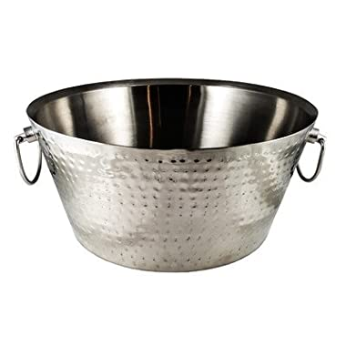BREKX Anchored Double Walled Hammered Steel Beverage Tub, Large, Silver