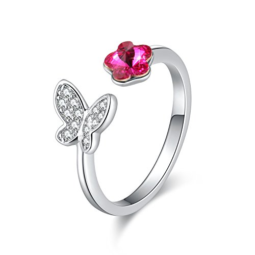 SUE'S SECRET Swarovski Element Ring Pink Flower & Butterfly with Swarovski Crystal, Ajustable Plum Flower Rings, Plum Blossom Rings, Friendship Ring