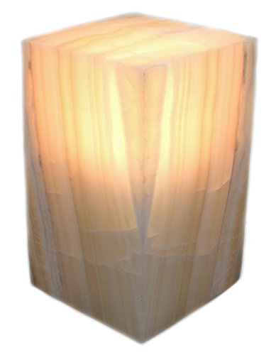 Soft Amber Onyx Aragonite Prism Lamp, 8