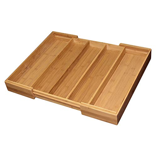- Totally Bamboo Expandable 5-Compartment Drawer Organizer, Expands from 13 to 22-3/4