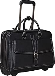 Clark & Mayfield Stafford Rolling Leather Tote 17.3\