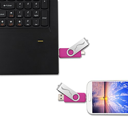 Techkey OTG USB Flash Drive for Cell Phones,Tablets and PCs,Key Chain Included,Galaxy Series,32GB,Rose Pink