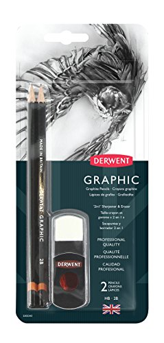 Derwent Graphic - Derwent Graphic Pencil with 2-in-1 Pencil Sharpener and Eraser Set (2302343)