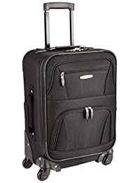 Rockland Expandable Spinner Carry On, Black, 19-Inch