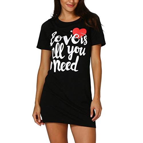 Family Matching TopsMom&Me Women Baby Girls Fashion ''Love is All You Need'' Letter Print Short Sleeve O-Neck T-Shirt Dress XL ()