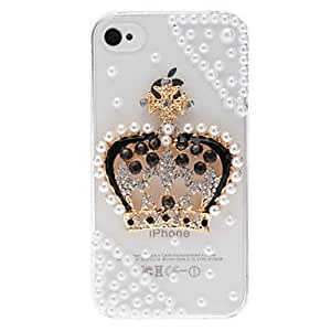 Delicate Shining Pearl and Rhinestones 3D Imperial Crown Design Transparent PC Hard Case for iPhone 4/4S