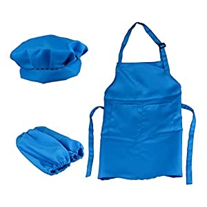 Flammi Kids Apron & Hat & Sleeve Set for Art Painting, Community Event, Kitchen Classroom (Medium, Blue)