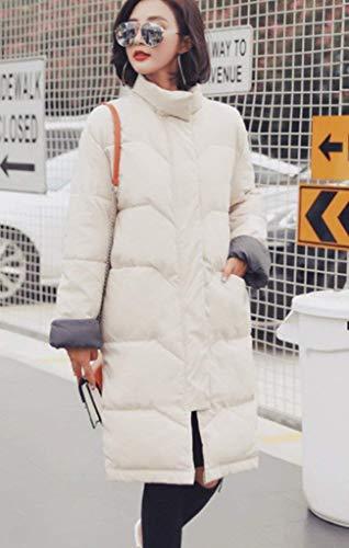 Tempo Addensato Parker Winter Lungo All'aperto Libero Eleganti Parka Longsleeve Fashion Abiti Cappotto Warm Capispalla Trapuntato Con Beige Relax Per Cerniera Il Ladies Saoye Rq86xnTp