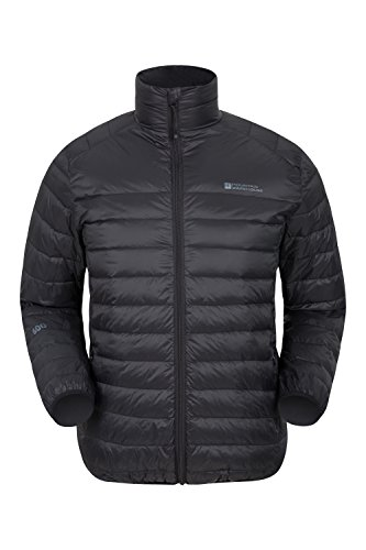 Mountain Warehouse Featherweight Mens Down Jacket - Water Resistant Black X-Large