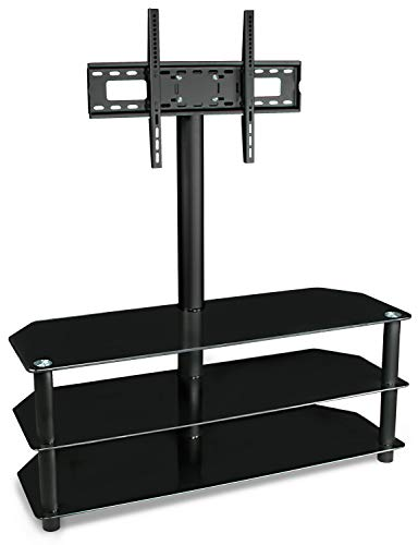 Mount-It! TV Stand with Mount and Glass Shelves for Flat Panel Televisions and Audio Video Components, 3 Tier Tempered Glass Shelves, Up to VESA 600x400, Fits 50, 55, 60, 65, 70 Inch, Black ()
