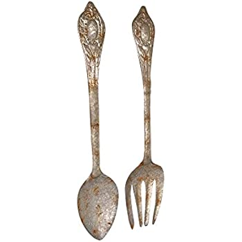 Amazon.com: Knife, Fork, & Spoon Set of 3 Metal and Wood ...