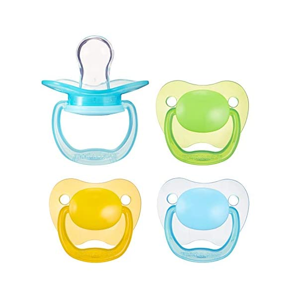 Kerrian Online Fashions 41lBxulv7lL Amazon Brand - Mama Bear Baby Pacifier, Stage 1 (0-6M), BPA Free, Assorted Colors (Pack of 4)