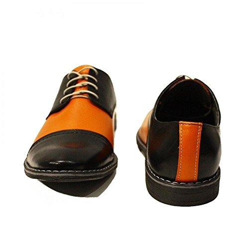 PeppeShoes Modello Abaco - Handgemachtes Italienisch Leder Herren Orange Oxfords Abendschuhe Schnürhalbschuhe - Rindsleder Weiches Leder - Schnüren