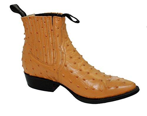 Men genuine ostrich print short ankle western j toe boots...