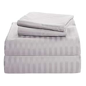 De 300hilos plata gris rayas 4PC juego de sábanas UK Super-King 100% algodón egipcio Extra profundo bolsillo (20Inche)–as1