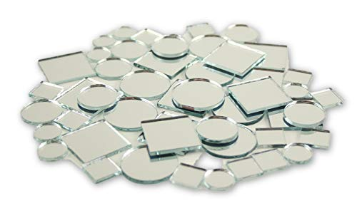 Small Mini Square & Round Craft Mirrors Assorted Sizes Mirror Mosaic Tiles 1/2-1 inch 100 ()