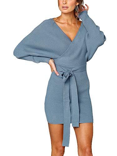 Cotton Mini Mock Wrap - Women's Sexy V Neck Cocktail Batwing Long Sleeve Backless Mock Wrap Belted Knit Sweater Mini Bodycon Dress Light Blue