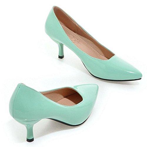 Heel Court Green Solid TAOFFEN Shoes Women Thin tqnTxwUI