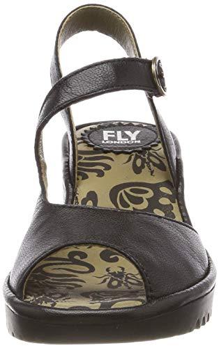 black Mujer Punta De Negro 000 London Para Sandalias Descubierta Fly Wyno023fly 10xzw