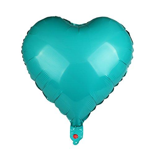 vLoveLife 10pcs Teal Heart Shape Metallic Color Foil Balloons Foil Helium Balloon 18