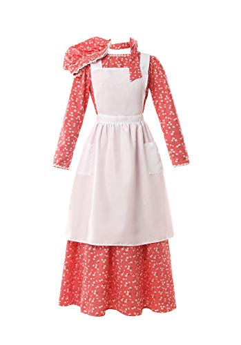 ROLECOS Pioneer Costume Dress Womens American Historical Clothing Modest Prairie Colonial Dress (L, red)]()