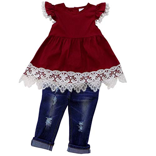 So Sydney Girls & Toddler 2 Piece Denim Set Collection (7 (XXL), Burgundy Pom & ()