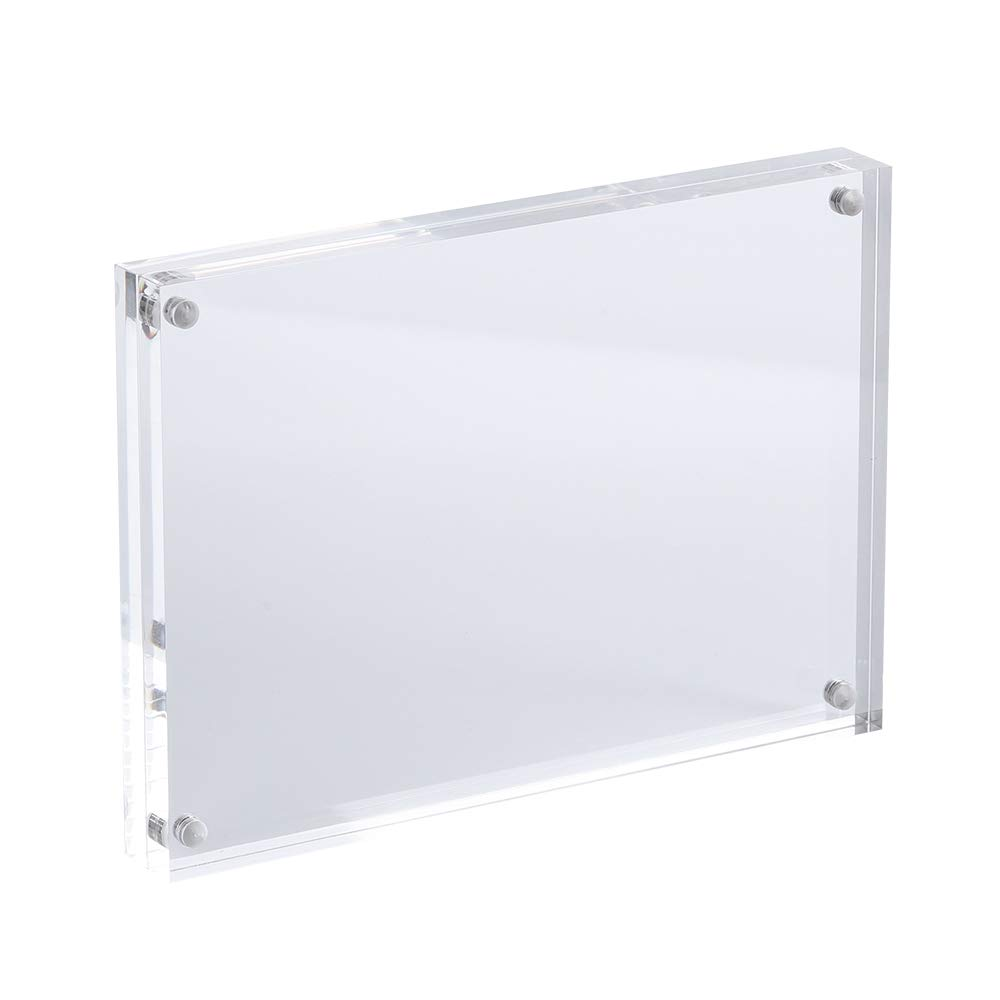 5x7 Acrylic Photo Frame, Magnetic Picture Frames, 10 + 10MM Thickness Stand in Desk or Table, Clear